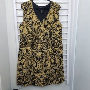 Lane Bryant Black and Gold Scroll Floral Dress 22